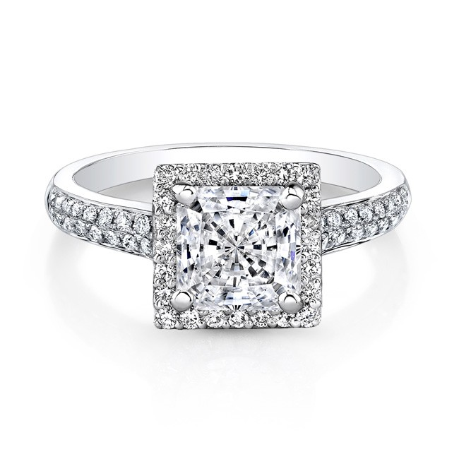 18k White Gold Square Diamond Princess Cut Engagem