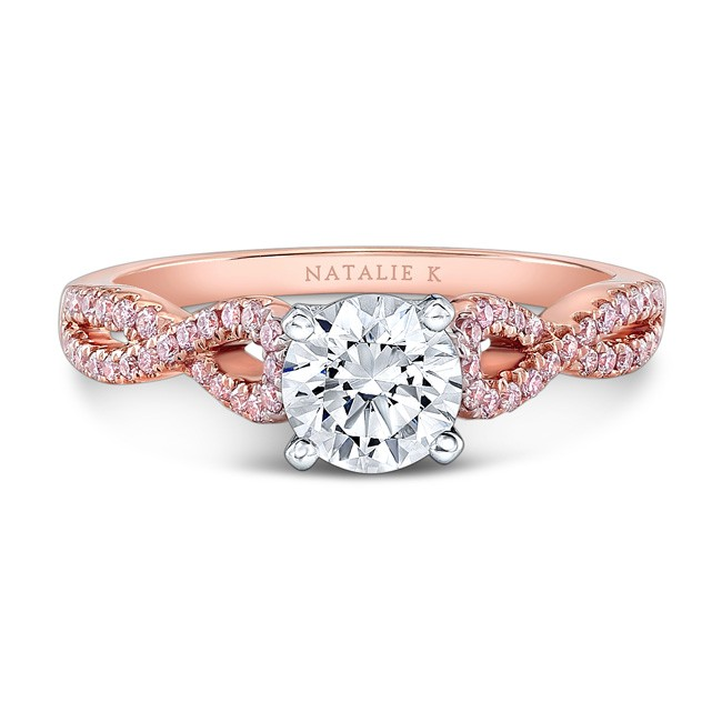 18K White and Rose Gold Twisted Shank Pink Diamond