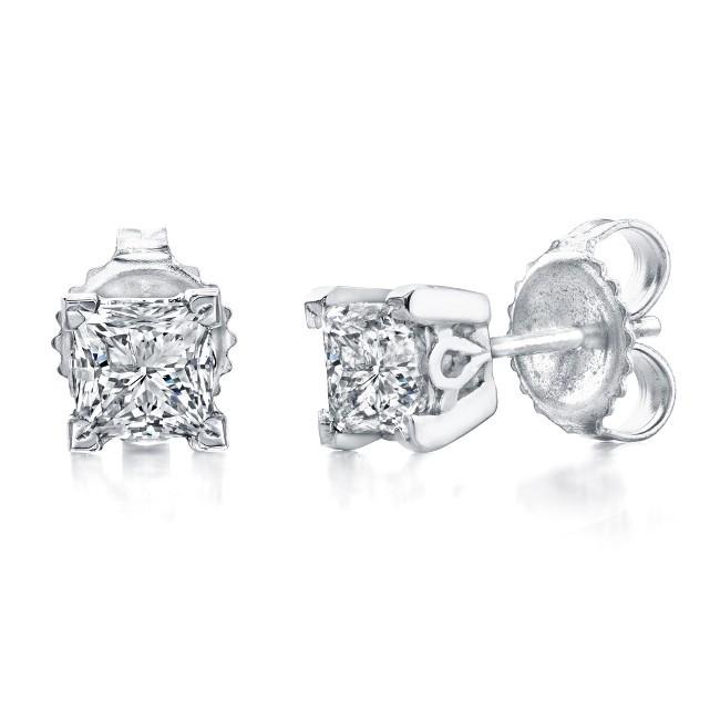 princess cut diamond stud earrings 1ct. Black Bedroom Furniture Sets. Home Design Ideas