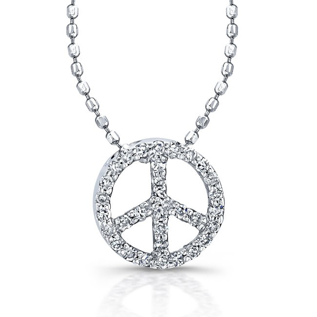 Sterling silver diamond peace pendant mozeypictures Choice Image