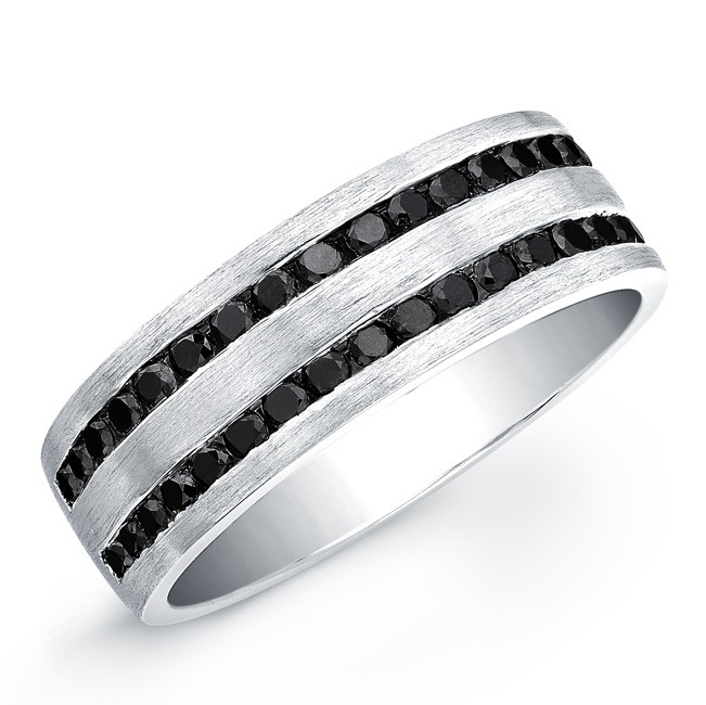 sterling silver black diamond mens band silver mens black diamond ring - Mens Black Diamond Wedding Rings