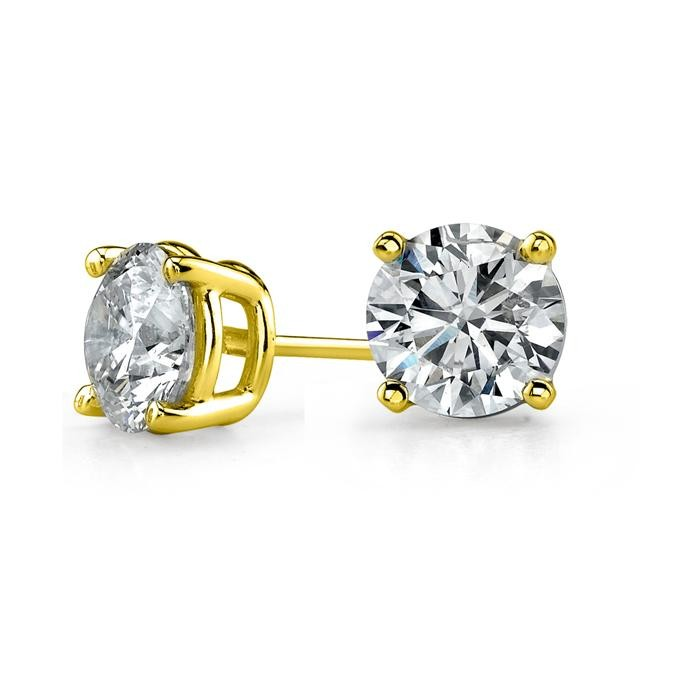 14k Yellow Gold 4 G Round Stud Earrings 1 2 Ct
