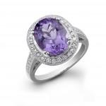 Amethyst Pave Diamond Ring