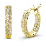 14K Yellow Diamond Pave Hoops 1/2""