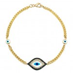 14k Yellow Gold Diamond Sapphire Evil Eye Bracelet