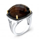 17 Carat Cushion Smokey Quartz Diamond Ring
