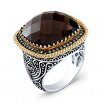 18 Carat Cushion Smokey Quartz Diamond Ring