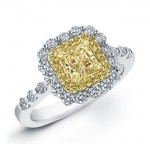 1 1/2ctw. Radiant Fancy Yellow Diamond Ring