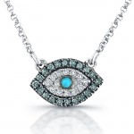 White-Blue Diamond Evil Eye Pendant,14K White Gold