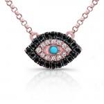 White-Black Diamond Evil Eye Pendant,14K Rose