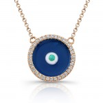 14K Rose Gold Dark Blue Enamel Evil Eye Necklace