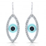 14k White Gold Enamel Diamond Evil Eye Earrings