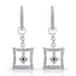 Diamond Hoop Earrings With Square Dangles