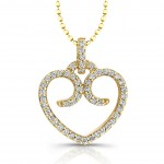 14kt Yellow Micro Prong  Diamond Heart Pendant 1/5 Ct Total Weight