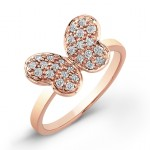 Diamond Pave Butterfly Ring-14Kt Rose Gold