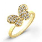 Diamond Pave Butterfly Ring-14Kt Yellow Gold