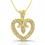 14kt Yellow Gold Vintage Diamond Pave Heart 1/4ct Total Weight