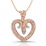 14kt Rose Gold Vintage Diamond Pave Heart 1/4ct Total Weight
