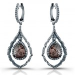 18k White Gold Rose Cut Pear Shaped Brown Diamond Drop Earrings
