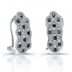14k White Gold Black Diamond Honey Comb Earrings
