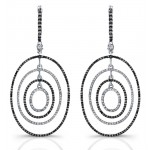 Black Diamond Oval Bullseye Hoop Earrings