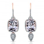 14k Rose Gold Amethyst Diamond Earrings