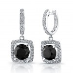 Black Diamond Pave Halo Dangle Earrings