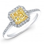 1.06ct Radiant Fancy Yellow Diamond Ring
