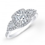 Halo Three- Stone Engagement Ring-Pear Shape Side Stones