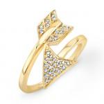 Yellow Gold Diamond Arrow Ring