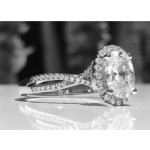 .90 Carat Oval Halo Twisted Shank Engagement Ring