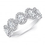Five Stone Oval Halo Diamond Ring