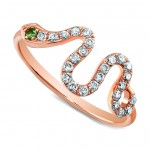 Rose Gold Diamond Snake Ring-Green Tourmaline Eye