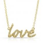 14K Yellow Cursive Love Diamond Necklace