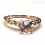 Rose Gold Round Shape  Morganite Vintage Engagement Ring