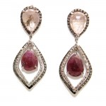 Rose - Pink Rose Cut Sapphire Earrings