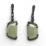 Antique Design Green Rose Cut Diamond Earrings