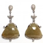 Antique Design Golden Rose Cut Diamond Earrings 33.28cts
