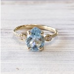 Vintage PS Aqua Diamond Ring