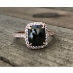 1 3/4ct Cushion Black Diamond Rose Gold Ring