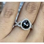 1.74 Carat Pear Shape Black Diamond Ring
