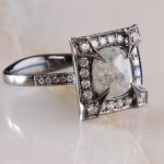 Salt and Pepper Vintage Engagement Ring