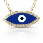 14k Yellow Gold Azure Blue Evil Eye Diamond Necklace