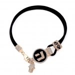 14k Rose Gold Diamond Hebrew Letter Hand of God Leather Bracelet