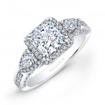 18k White Gold Princess Halo Diamond Engagement Ring with Pear Side Stones
