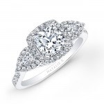 18k White Gold Halo Diamond Engagement Ring with Pear Shaped Side Stones NK25804-W