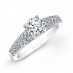 18k White Gold Prong Bezel Set Two Row Diamond Engagement Ring