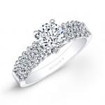 18k White Gold Prong and Bezel Set Three Row White Diamond Engagement Ring