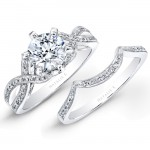 18k White Gold Split Twist Shank Diamond Bridal Set