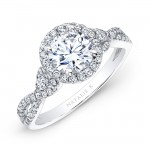 18k White Gold Halo Diamond Engagement Ring with Pear Side Stones